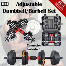 BLACK DUMBBELL * CAST IRON DUMBBELL * CHROME DUMBBELL SET * WEIGHTS * BODY BUILDING *  [FREE 20CM Dumbbell-to-Barbell Chrome Connector] Lifetime Warranty * 1-2 Days Express Delivery