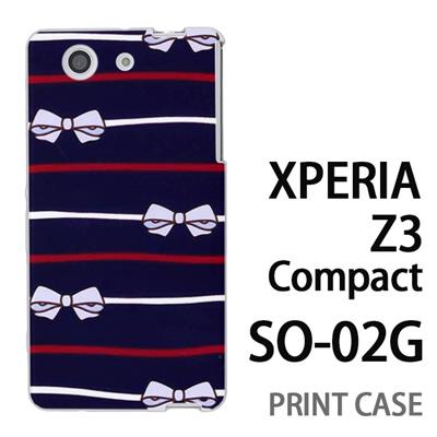 XPERIA Z3 Compact SO-02G 用『1103 リボンストライプ 紺』特殊印刷ケース【 xperia z3 compact so-02g so02g SO02G xperiaz3 エクスペリア エクスペリアz3 コンパクト docomo ケース プリント カバー スマホケース スマホカバー】の画像