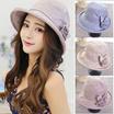 夏のUV対策に♡ プチプラ 5色展開!かわいい花モチーフ付き帽子