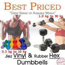 JiezFitt Vinyl Dumbbells | 0.5kg - 10kg | Vinyl Anti Slip Coat || Rubber Coated Hex Dumbbells | 1.0kg - 30kg | Contoured Chrome