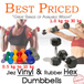 JiezFitt Vinyl Dumbbells | 0.5kg - 10kg | Vinyl Anti Slip Coat || Rubber Coated Hex Dumbbells | 1.0kg - 30kg | Contoured Chrome