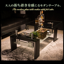 ランキング1位常連!【送料無料】センターテーブル 選べる3カラー☆高級感溢れるスタイリッシュなガラステーブル☆天板・棚板には強化ガラスを使用☆ローテーブル ガラス