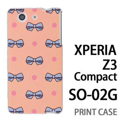 XPERIA Z3 Compact SO-02G 用『1103 リボンドット ピンク』特殊印刷ケース【 xperia z3 compact so-02g so02g SO02G xperiaz3 エクスペリア エクスペリアz3 コンパクト docomo ケース プリント カバー スマホケース スマホカバー】の画像