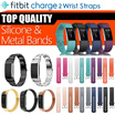 Fitbit Charge 2 watch band strap Stainless Steel Bracelet Milanese silicone leather band strap