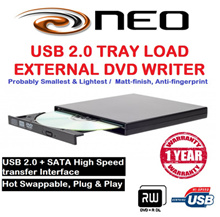 NEO USB 2.0 TRAY LOAD EXTERNAL DVD WRITER SAMSUNG ULTRA THIN EXTERNAL DVD WRITER /Probably Smallest Lightest/Matt-finish and Anti-fingerprint