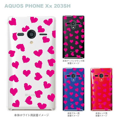 【AQUOS PHONEケース】【203SH】【Soft Bank】【カバー】【スマホケース】【クリアケース】【ハート】 22-203sh-ca0019の画像