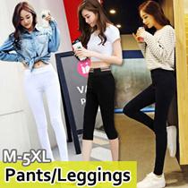 ★GSS Deal★PLUS SIZE Women Pants/M~5XL Banding Skinny Pants/Short Pants/Modal Cotton Leggings★ Skinny Pants/Comfortable Modal Leggings /Banding Skinny Pants/Culottes Pants