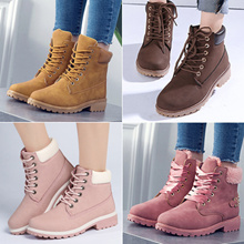2019 New Women Fashion Boots Ladies Winter Boots Leather Shoes Waterproof Non-slip