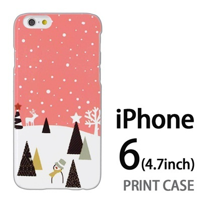 iPhone6 (4.7インチ) 用『1210 雪景色 ピンク』特殊印刷ケース【 iphone6 iphone アイフォン アイフォン6 au docomo softbank Apple ケース プリント カバー スマホケース スマホカバー 】の画像