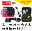 gopro hero 4 style Action Camera 4K F60 WiFi 15fps go pro Sport camera extreme Diving Helmet 30M Waterproof mini Cam+monopod+bag
