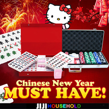 ★HELLO KITTY MAHJONG SET ☆ Singapore 148 Tiles ☆ Free Tiles ★Casino Chips ★Poke
