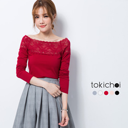 TOKICHOI - Off the shoulder Translucent Lace Top-172143-Winter
