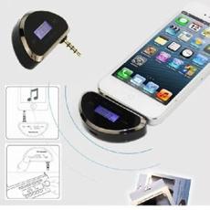 iPhone5/5C/5S専用3.5mmオーディオプラグ式☆超小型☆FMトランスミッター シガーソケット充電付き