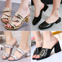 Women Fashion Sandals Lady High heel Slippers Summer Flip Flop 2017 New Shoes High Quality Plus Size