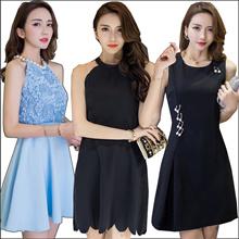 【27/3 new】Black Dresses/Korean style Slim dress/Sexy/Strapless/Halter/Little black dress/Harness dre
