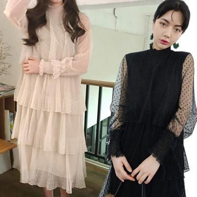 2017 春 韓国ファッション  レース  パーティードレス 結婚式 ドレス  お呼ばれドレス   フォーマル ワンピース