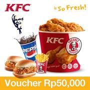 [Time Sale Event] KFC Rp.50000 Voucher 50% OFF!