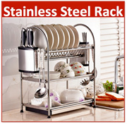 [SUS 304 Stainless Steel] Dish Rack Ready Stock 3 Tier 2 Tier Shelf Kitchen drainer tray dryer