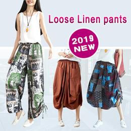 2018 New Loose Linen pants/Linen Cotton Harem Pants/Wide Leg Pants