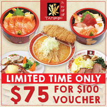 [TAMPOPO] $75 For $100 Cash Voucher. 4 outlets available. 4 Days Promotion.