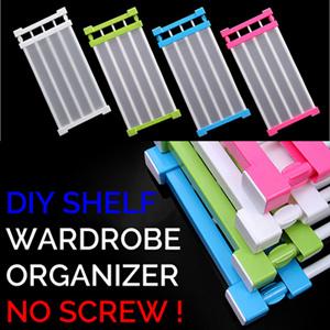 Adjustable Closet Organizer Rack/Wardrobe Compartment Divider/No Drilling  No Screws/Shelf Rack