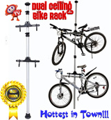 [HOTTEST IN TOWN] Dual Bicycle Space Saving Aluminium Ceiling Rack* High Quality Bicycle Vertical Stand Tower Pole with Hanger* Home Bicycle Organizer - As Seen on TV