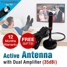 100% Copper Digital TV Antenna / 35dBi Active Indoor Antenna for DVB T2 Box /  DVB-T2 TV Box