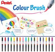 Pentel Colour Brush Pen / 18 Colours / Calligraphy