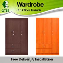 3Door and 2 Door Wardrobe CHERRY and WALNUT Colour
