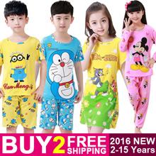 BUY 2 FREE SHIPPING Kids Sleepwear Cute Cartoon Boys and Girls Pyjamas Childrens Pajamas for 2-15