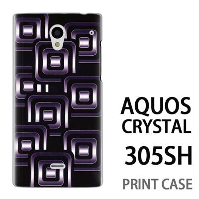 AQUOS CRYSTAL 305SH 用『No3 スクエアスタンプ 黒』特殊印刷ケース【 aquos crystal 305sh アクオス クリスタル アクオスクリスタル softbank ケース プリント カバー スマホケース スマホカバー 】の画像