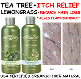 [ WoW!! 2 for $23.90 ] USA CERTIFIED ORGANIC / NO SLS100% NATURAL / TEATREE ITCH-RELIEF / LEMONGRASS REDUCE HAIR LOSS / 354ml each