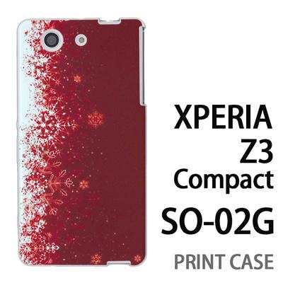 XPERIA Z3 Compact SO-02G 用『1204 雪結晶 赤』特殊印刷ケース【 xperia z3 compact so-02g so02g SO02G xperiaz3 エクスペリア エクスペリアz3 コンパクト docomo ケース プリント カバー スマホケース スマホカバー】の画像