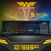 Armaggeddon AK-999SFX SPILL Proof Gaming Keyboard - 9 Different lighting Effects | High Profile TactkeysTM | Anti-Ghosting Gaming Clusters | Custom Laser Keycap Lettering. Local 2 Years Warranty!