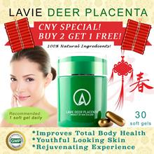 LAVIE DEER PLACENTA *30 Soft Gels/Btl* Formulated through advance technology / Fresh New Zealand deer placenta / Improves vitality / Promotes flourishing health / Rejuvenates skin / Anti-aging effect.