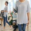 [CANMART]韓国ファッション★クリアーボーダーカットソー C032015 どんなコーデにでも取り入れやすい 着回しにきく 定番ストライプアイテム 裾のスリットでおしゃれ楽ちん ゆったりフィット 5分丈袖
