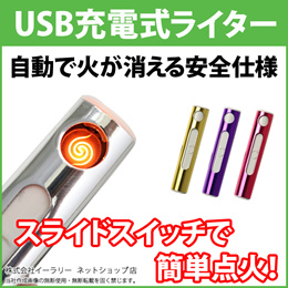 電子ライター スリム USBライター 電熱 充電式 USB充電式ライター ガス・オイル不要 熱線ライター 防災グッズ 防災用品 ライター タバコ たばこ ER-MBLT[ゆうメール配送][送料無料]