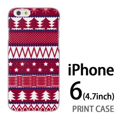 iPhone6 (4.7インチ) 用『1218 もみの木ストライプ 赤』特殊印刷ケース【 iphone6 iphone アイフォン アイフォン6 au docomo softbank Apple ケース プリント カバー スマホケース スマホカバー 】の画像