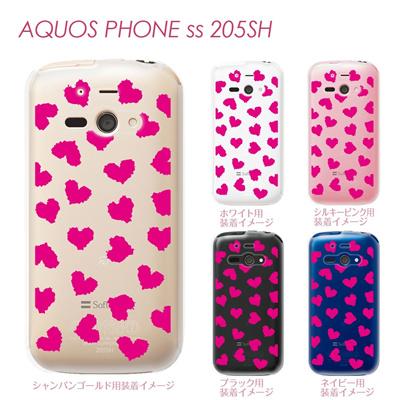 【AQUOS PHONE ss 205SH】【205sh】【Soft Bank】【カバー】【ケース】【スマホケース】【クリアケース】【チェック・ボーダー・ドット】【ハート】 22-205sh-ca0019の画像