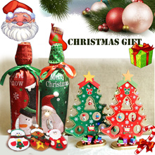 💋💋Hot stuff💋💋3 in 1 Chrismas Wine Bottle Cover Christmas Dinner Party Table Decor,LED Christmas Tree Arrival Christmas Tableware Dinner Party Decoration Cutlery Holder decoration light