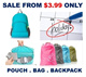 [ORTE]GRP Sale ON! Travel Bag* Backpack* Pouch* Luggage Organizer*Shopping Bag *Durable*Compact*Foldable*Local Delivery* Frm $3.99 only