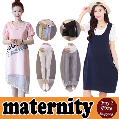 [30 July] Maternity Wear/Tops/Dress/Tee Shirts Vest/Shorts/Pants Pregnant Women Clothes Plus Size Deals for only S$40 instead of S$0