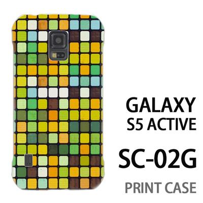 GALAXY S5 Active SC-02G 用『No3 モザイク 黄緑』特殊印刷ケース【 galaxy s5 active SC-02G sc02g SC02G galaxys5 ギャラクシー ギャラクシーs5 アクティブ docomo ケース プリント カバー スマホケース スマホカバー】の画像