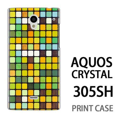 AQUOS CRYSTAL 305SH 用『No3 モザイク 黄緑』特殊印刷ケース【 aquos crystal 305sh アクオス クリスタル アクオスクリスタル softbank ケース プリント カバー スマホケース スマホカバー 】の画像