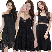 【29/4 new】Black Dresses/Korean style Slim dress/Sexy/Strapless/Halter/Little black dress/Harness dre