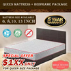 BESTSELLER! Queen Mattress + Bedframe Package | Free Delivery and Installation | 6 8 10 13 inch Mattress Available | READY STOCK |