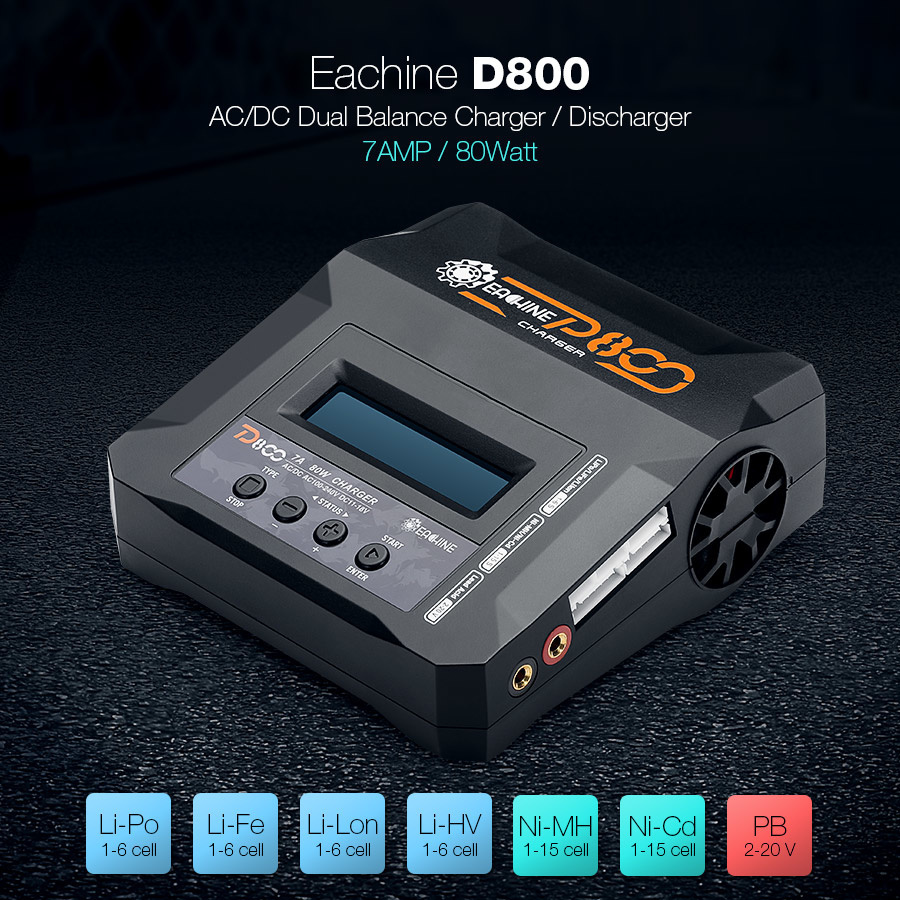 【クリックで詳細表示】Eachine D800 7A 80W Dual Input Power AC/DC Balance Charger for NiCd NiMH Lithium PB Battery
