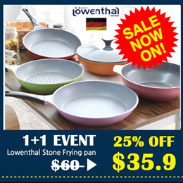 [Lowenthal] Titanium Stone Coating Frying Pans 1+1 / Made in Korea / The food does not stick in pan