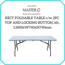 RECT FOLDABLE TABLE c/w 2PC TOP AND LOCKING BUTTON 6ft L1800xW740xH740mm
