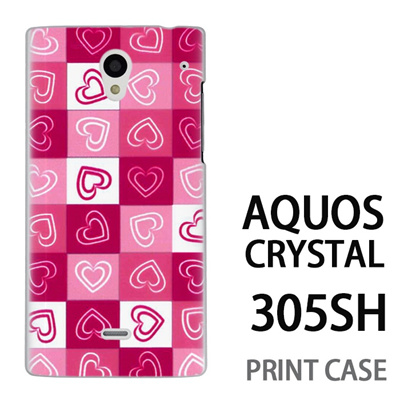 AQUOS CRYSTAL 305SH 用『No3 モザイクハート ピンク』特殊印刷ケース【 aquos crystal 305sh アクオス クリスタル アクオスクリスタル softbank ケース プリント カバー スマホケース スマホカバー 】の画像